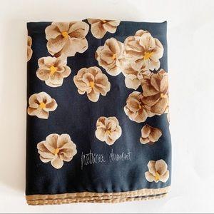 Vtg Patricia Dumont Square Scarf Floral Black